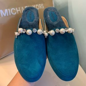 Turquoise Suede slides shoes with pearl